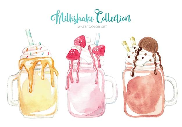 Coleção de milkshake aquarela deliciosa