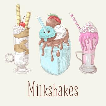 Coleção de milkshakes e sorvetes