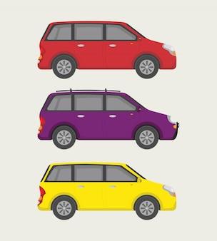 Coleção de mini carros pequenos com três opções
