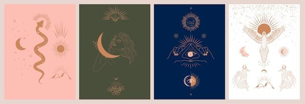 Coleção de mitologia e ilustrações místicas no estilo desenhado à mão. animais de fantasia, míticos