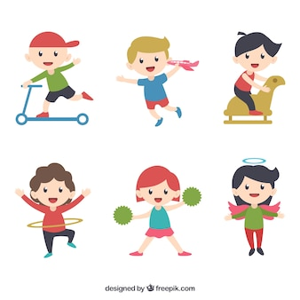 Coleção de miúdos engraçados que jogam