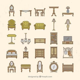 Coleção de mobiliário vintage
