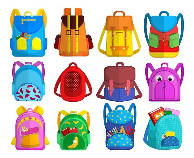 Coleção de mochilas infantis brilhantes. ilustração de desenho animado
