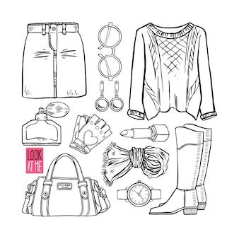 Coleção de moda de esboço de roupas e acessórios femininos. ilustração desenhada à mão