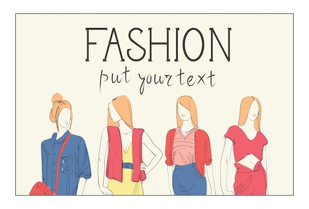 Coleção de moda de roupas conjunto de modelos masculinos e femininos, vestindo roupas da moda croqui