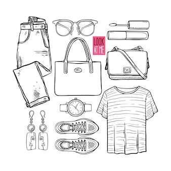 Coleção de moda de roupas e acessórios de menina esboço. estilo casual de mulher. ilustração desenhada à mão