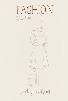 Coleção de moda de roupas femininas conjunto de modelos de mulher vestindo roupas modernas esboço