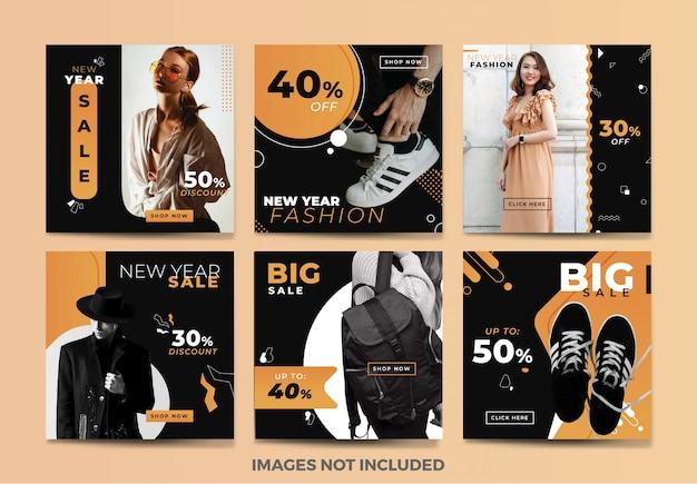 Coleção de moda modelo de banner de mídia social