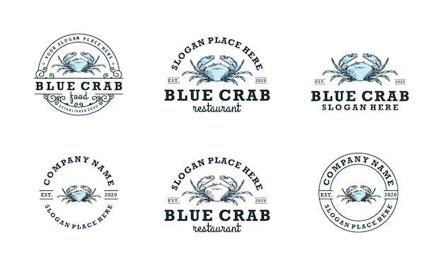Coleção de modelo clássico de design de logotipo de caranguejo