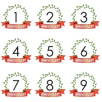 Coleção de modelo de aniversário de anos com fita vermelha e coroa de louros