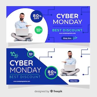 Coleção de modelo de banner cyber segunda-feira