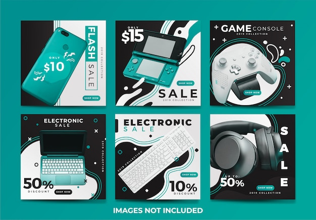 Coleção de modelo de banner de mídia social de venda elecronic