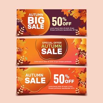 Coleção de modelo de banner de venda de outono