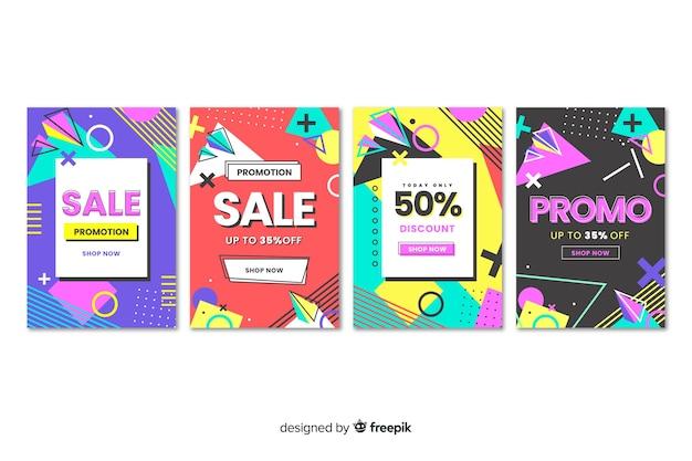 Coleção de modelo de banner de vendas de memphis