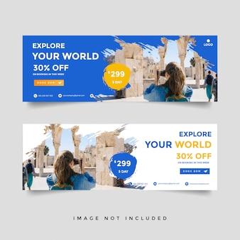 Coleção de modelo de banner de viagens criativas