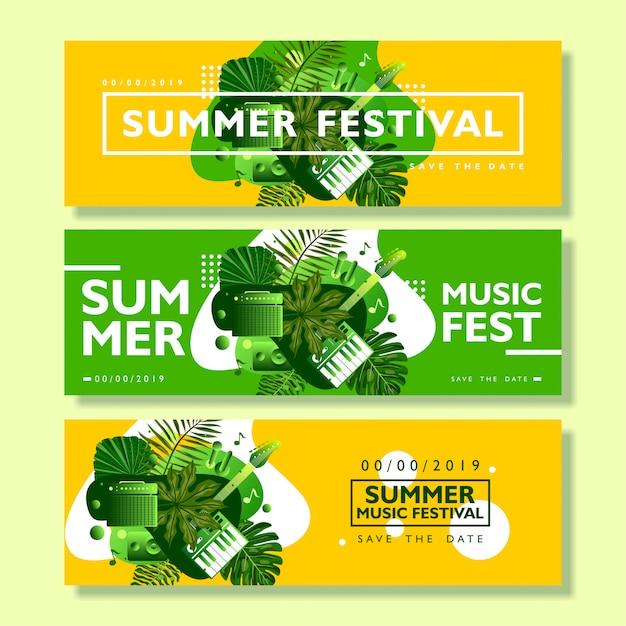 Coleção de modelo de banner festival de verão