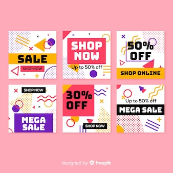 Coleção de modelo de banners de vendas de memphis