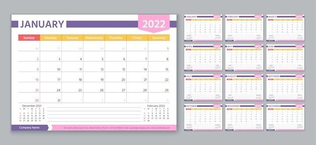 Coleção de modelo de calendário