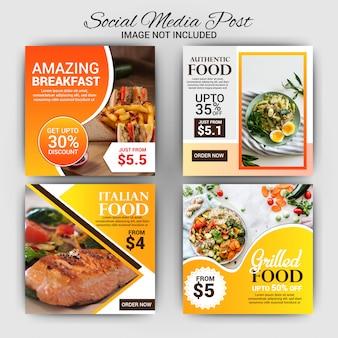 Coleção de modelo de cartão com o conceito de comida