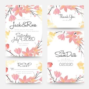 Coleção de modelo de cartão de convite de casamento