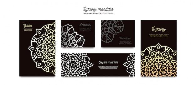 Coleção de modelo de cartão de mandala de luxo