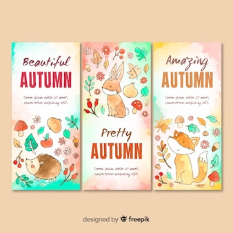 Coleção de modelo de cartão de outono em aquarela