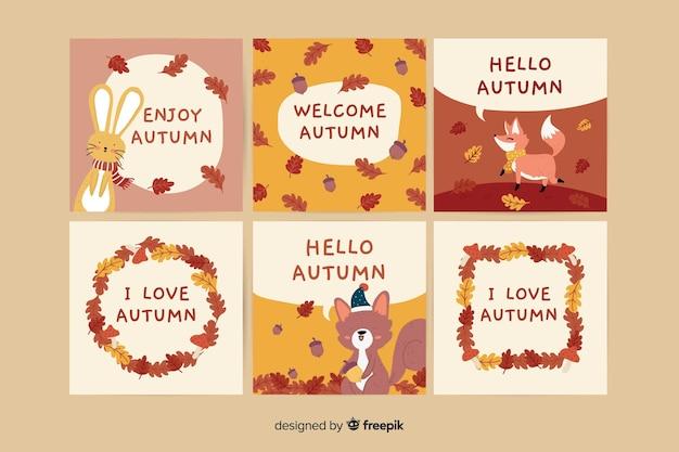 Coleção de modelo de cartão de outono mão desenhada