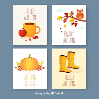 Coleção de modelo de cartão de outono plana