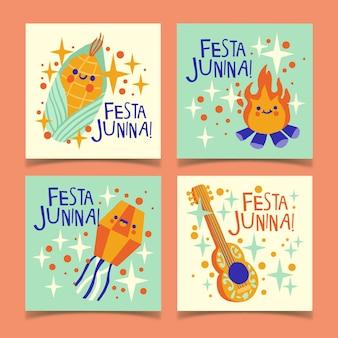 Coleção de modelo de cartão festa junina desenhada de mão