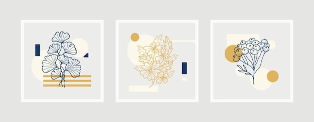 Coleção de modelo de cartaz de boho de arte linha flores.