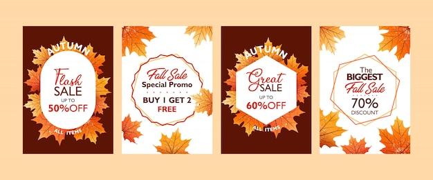 Coleção de modelo de cartaz de oferta especial de outono
