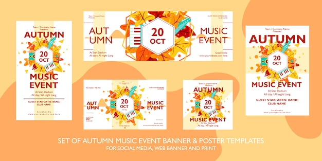 Coleção de modelo de cartaz, panfleto e banner de evento festival de música de outono