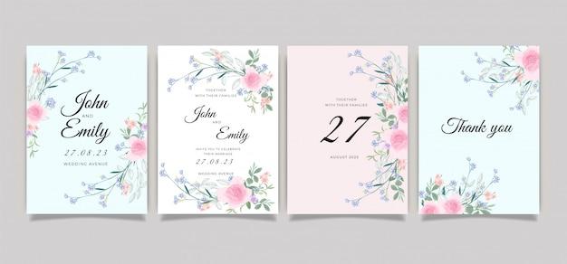 Coleção de modelo de convite de cartão de casamento