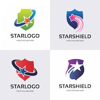 Coleção de modelo de desenhos de logotipo de escudo estrela