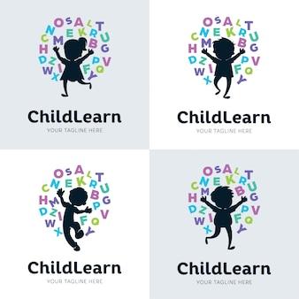 Coleção de modelo de design de conjunto de aprendizagem de crianças