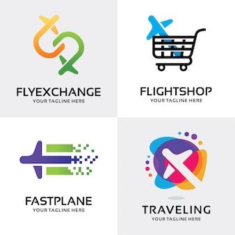 Coleção de modelo de design de conjunto de logotipo de avião