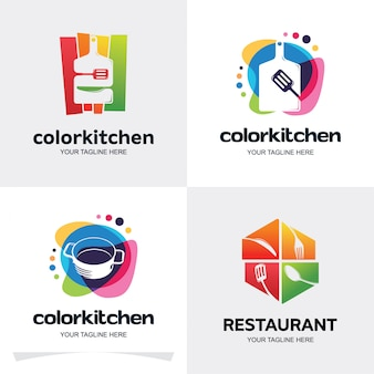 Coleção de modelo de design de conjunto de logotipo de cozinha de cor