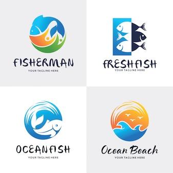 Coleção de modelo de design de conjunto de logotipo de peixe