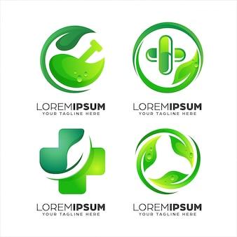Coleção de modelo de design de logotipo abstrato verde natureza saúde gradiente