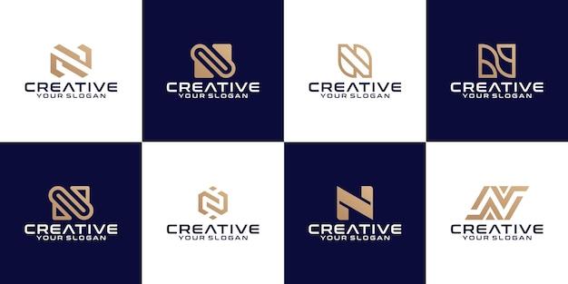 Coleção de modelo de design de logotipo com letra n inicial