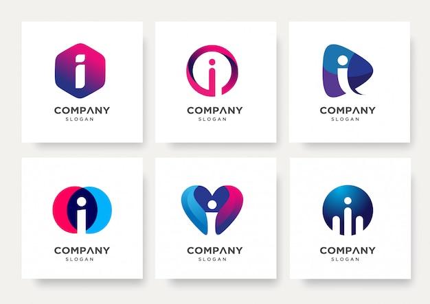 Coleção de modelo de design de logotipo da letra i