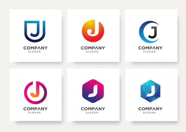 Coleção de modelo de design de logotipo da letra j