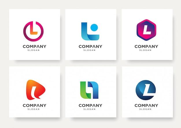 Coleção de modelo de design de logotipo da letra l
