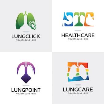 Coleção de modelo de design de logotipo de cuidados de saúde de pulmão