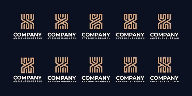 Coleção de modelo de design de logotipo de monograma de letra inicial