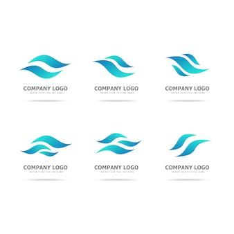 Coleção de modelo de design de logotipo de onda