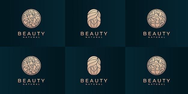 Coleção de modelo de design de logotipo de rosto de mulher de beleza.