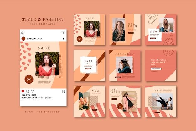 Coleção de modelo de feed de post de quebra-cabeça de mídia social de moda outono