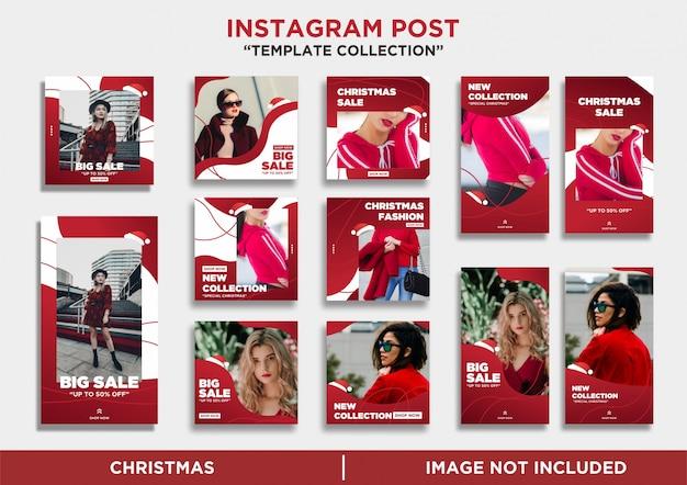 Coleção de modelo de feliz natal do instagram stories