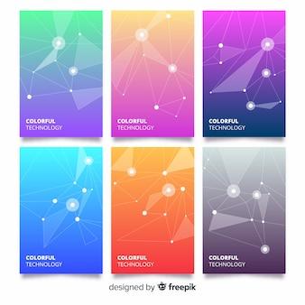 Coleção de modelo de folheto colorido tecnologia